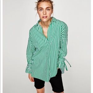 Zara Poplin Green Striped Long Sleeve Top
